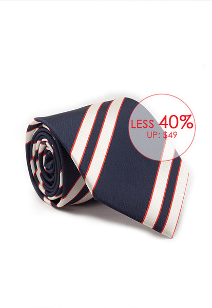 Marzthomson Navy with White and Red Stripe Tie
