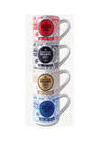 Multiple Choice Coffee Drinks Stackable Mugs, Brown