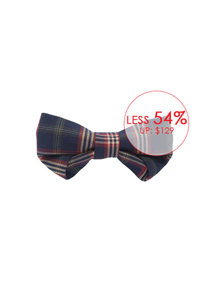 Weixu Wang Folding Series Bowtie, Navy Blue with Stripes
