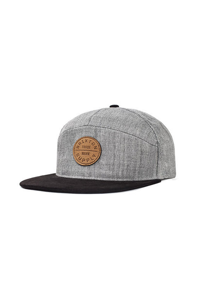 Brixton Oath 7 Panel Cap, <br/>Light Heather Grey