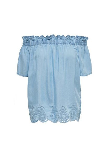 ONLY Denim Embroidery Off-Shoulder Top
