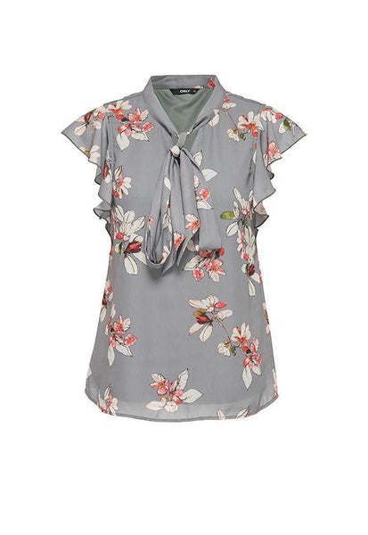 ONLY Frill Bow Floral Top