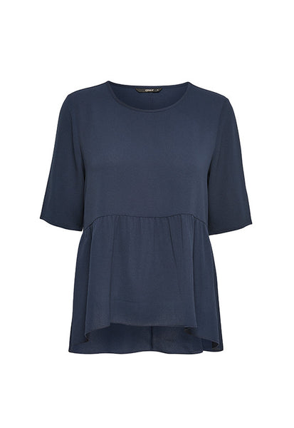ONLY Solid Peplum Top, Dark Navy