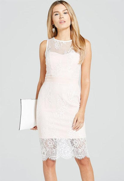 Paper Dolls Blush And Cream Lace Overlay Dress
