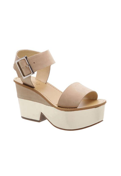 Schutz Half Metallic Wedge, Natural