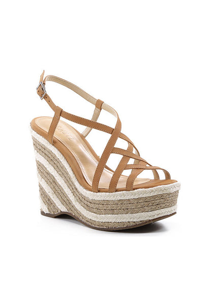 Schutz Strappy Espadrille Wedge, Tan