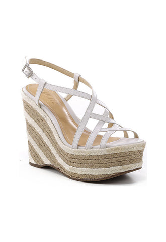 Schutz Strappy Espadrille Wedge, White
