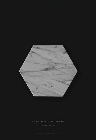 Comme Home White Hexagonal Marble Board, Small