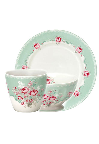 Greengate 6pc Breakfast Set, Mint Floral