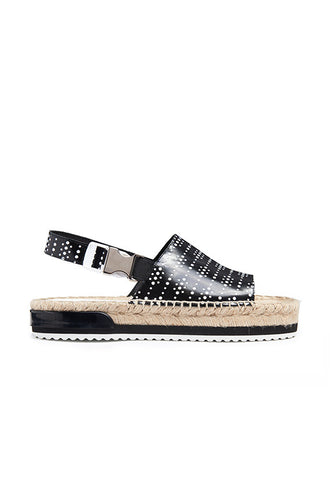 Miista Steph Black Graphic Sandals, Black Graphic