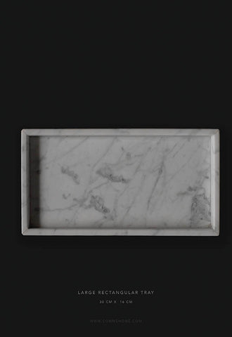 Comme Home White Rectangle Marble Tray