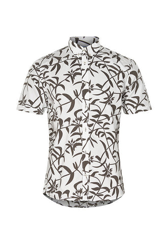 Matinique Trostol Leaf Print Short Sleeve Shirt, White