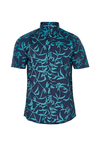Matinique Trostol Leaf Print Short Sleeve Shirt, Blue