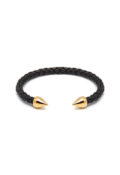 Northskull Teel Leather Cuff in Black and Gold
