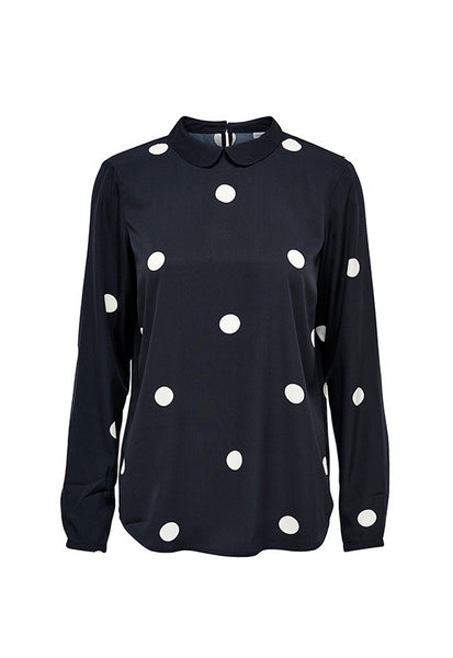 Jacqueline de Yong Polka Dot Collar Top