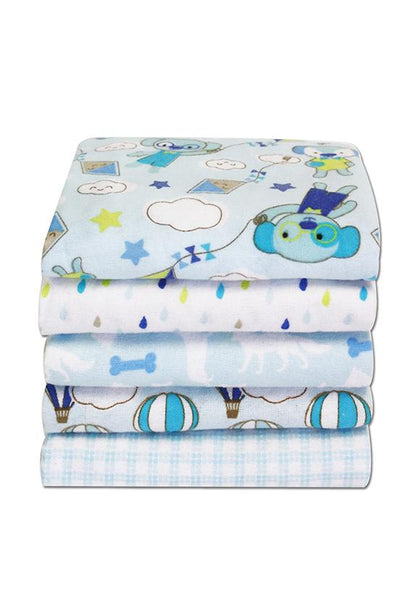 Honey Bunny 5pcs of Baby Flannel Blanket, Blue
