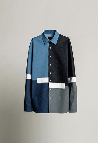 Drink Beer Save Water Denim Panel Oversized Shirts