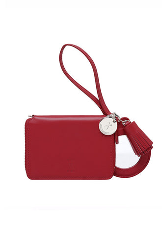 Joseph & Stacey Zip Card Wallet, Scarlet Red