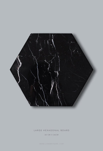 Comme Home Black Hexagonal Marble Board, Large