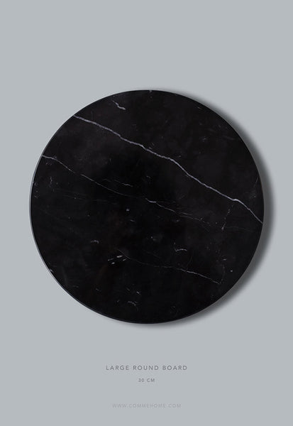 Comme Home Black Round Marble Board, Large
