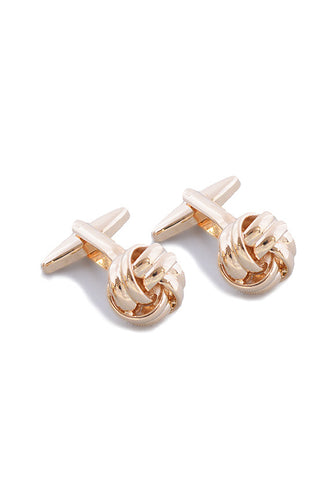 MarZthomson Rose Gold Ribbed Knot Cufflinks