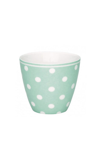Greengate Latte Cup, Mint With Polkadots