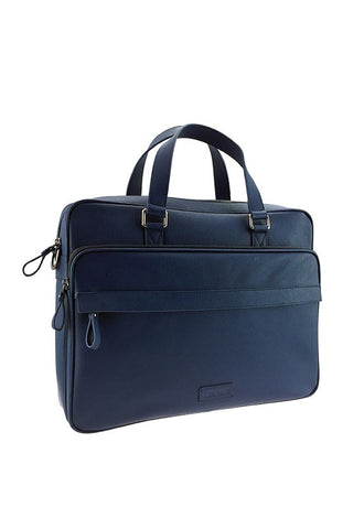 Renoma Leather Briefcase, Ocean Blue