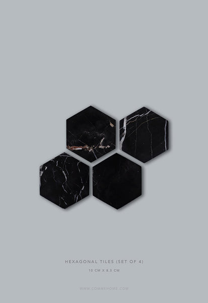 Comme Home Black Hexagonal Marble Tiles, Set of 4