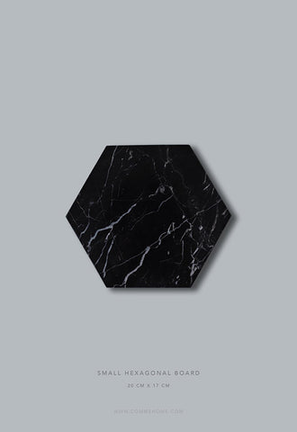 Comme Home Black Hexagonal Marble Board, Small