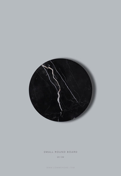 Comme Home Black Round Marble Board, Small