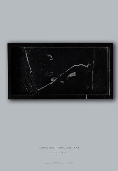 Comme Home Black Rectangle Marble Tray
