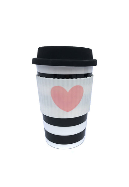 Miss Etoile Ceramic Travel Mug, Rose Heart Black Stripes