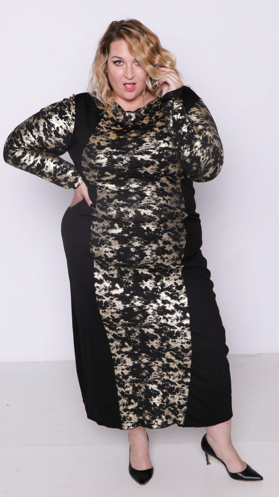 Golden Beam long sleeved maxi dress