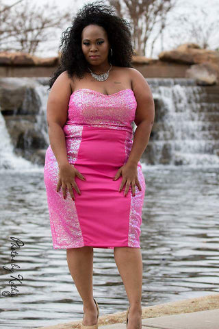 Mamacita Sequin 2 Piece skirt set in hot pink