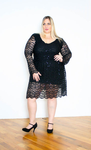 The Claudia Black lace with Sequins Dress