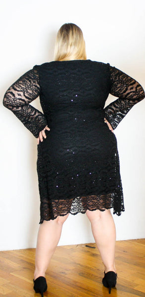 Black lace with Sequins Dress