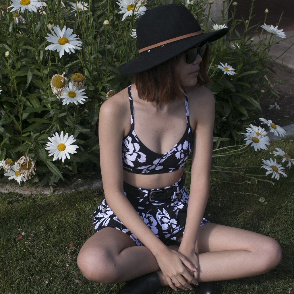 Bralette in Black Floral