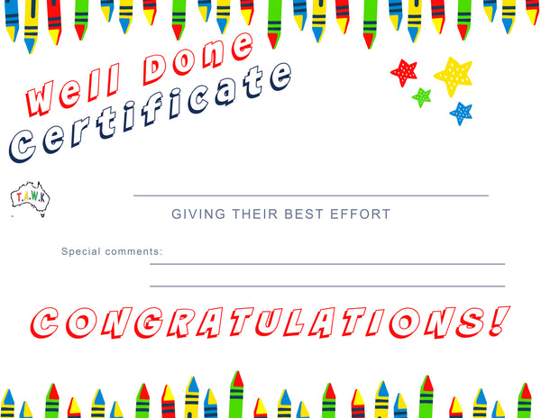 TAWK Kids Printable Certificates