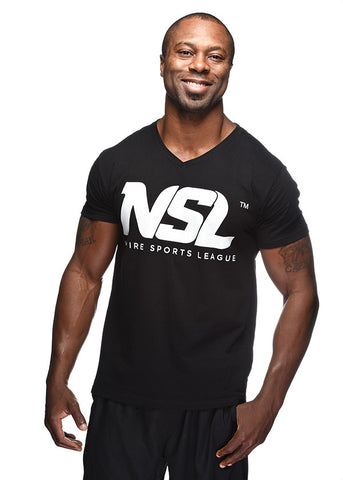 The NSPIRE Logo Collection (V Neck Tee w/ Bold White Lettering)