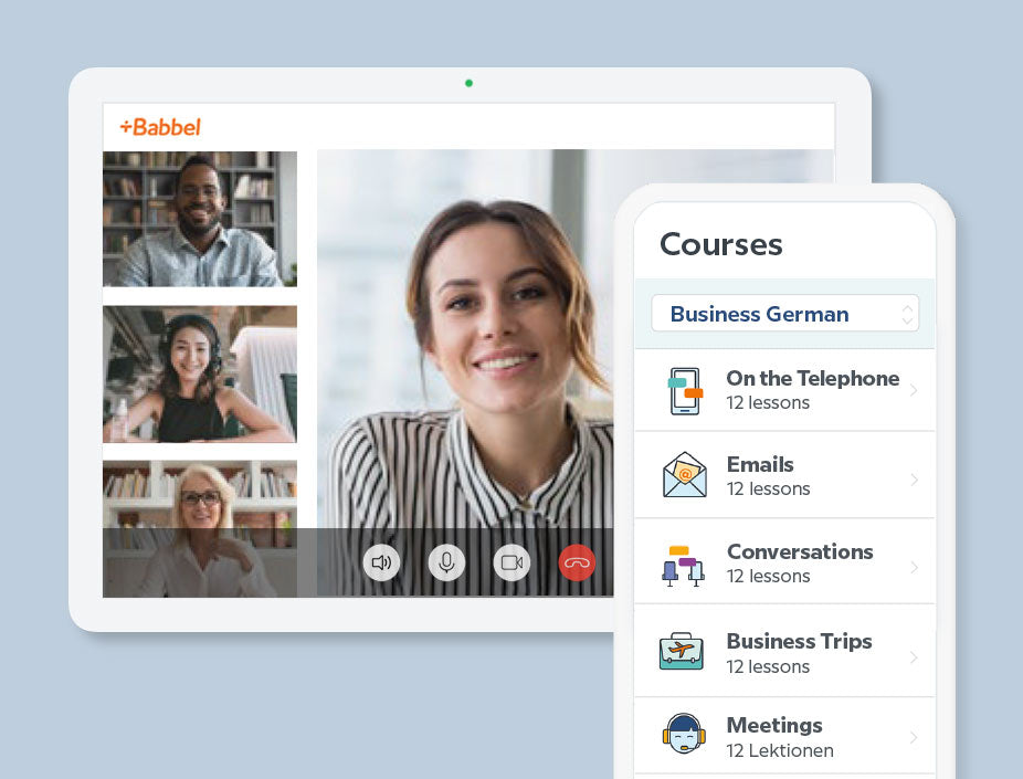 Babbel for Business product Babbel Live with language learning with group online lessons