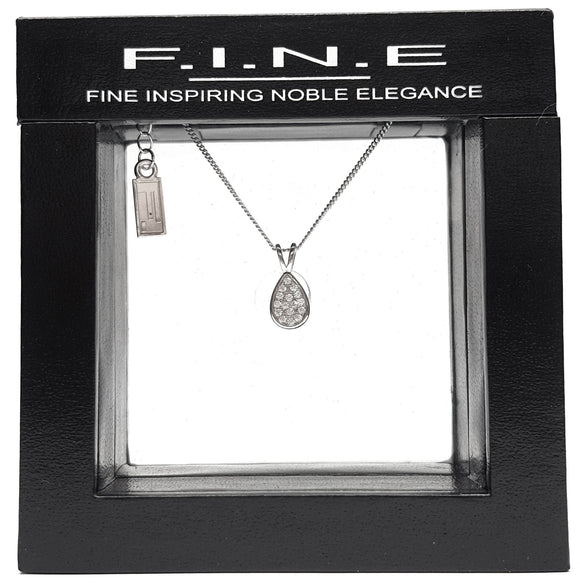 925 Sterling Silver Pendant with Cubic Zirconia for Fashion Lovers, F.I.N.E, Hope