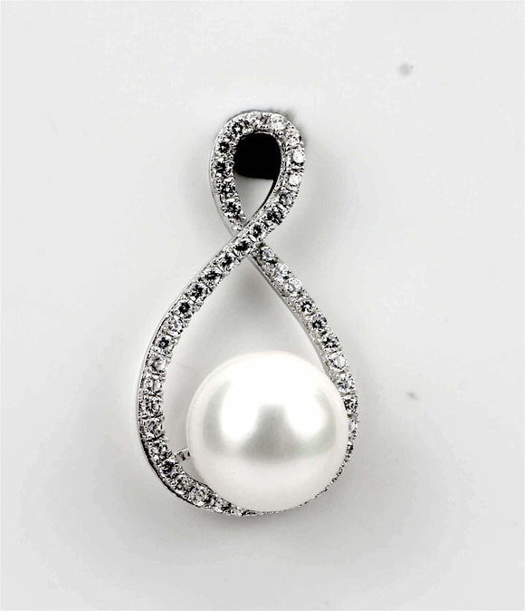925 Sterling Silver Pearl Shaped Pendant With Cubic Zirconia – Be Party Ready, F.I.N.E, Hope