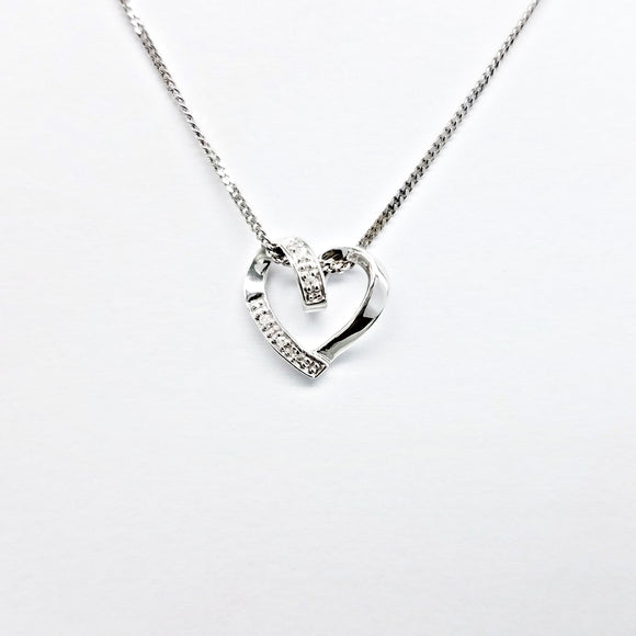 925 Sterling silver pendant necklace with diamonds for women, F.I.N.E LOVE