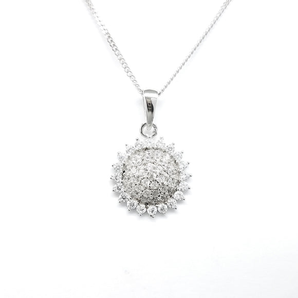 925 Sterling Silver Pendant With Cubic Zirconia - Round Sun Shape, F.I.N.E, Unity.