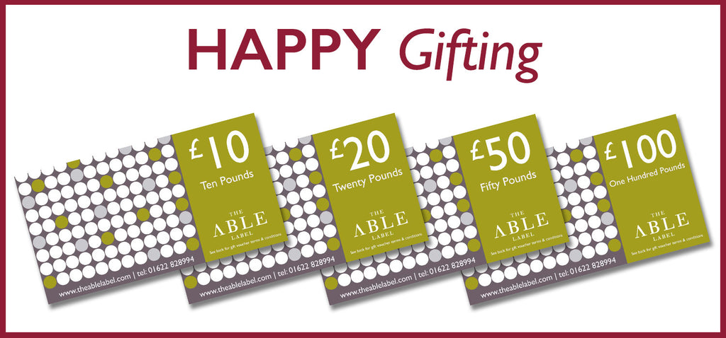 The able label gift vouchers, £10, £20, £50, £100