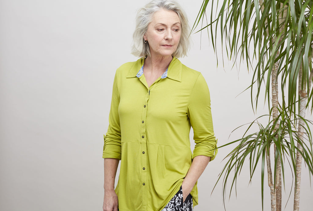 Imogen velcro fastening shirt in golden lime colour