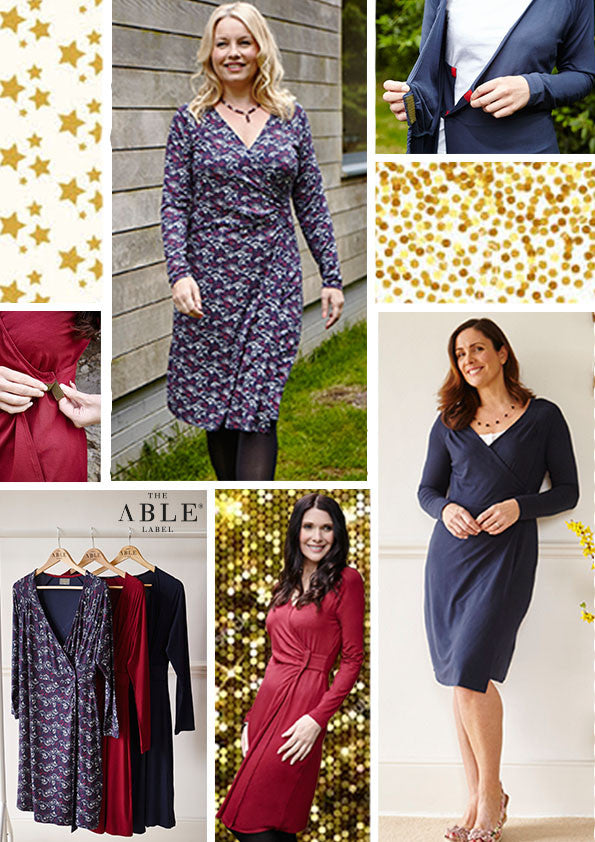 Christmas outfits - jersey wrap dresses, easy fasten