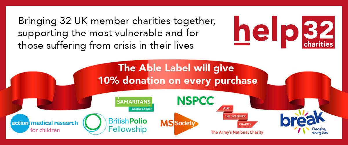 Help 32 Charities Logo with The Able Label Banner