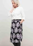 Ivory long sleeve jersey top with black and white floral print wrap skirt