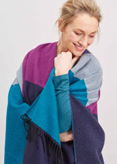 Paloma Luxury Wrap with block colours of plum, teal and grey